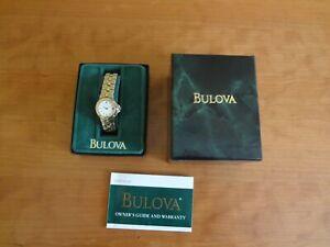 Women's Bulova Two-Tone Bracelet Quartz Wrist Watch #98M36 White Dial $225.00