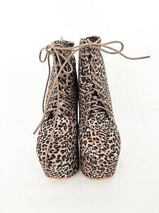 New Ladies Leopard Print Lace Up Platform Party Heel Fancy Dress UK Sizes