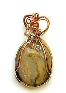 BEAUTIFUL PRARIE AGATE WIRE WRAPPED PENDANT