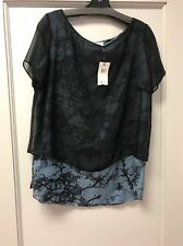 Bailey 44 Fabrizio Top Silk Blend Top With Black Silk Sheer Overlay NWT $152 SzL
