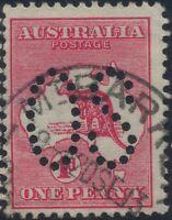 South Australia 1d red Kangaroo LARGE OS *MT BARKER* CANCEL SA POSTMARK ROO sg02