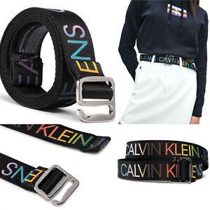 Calvin Klein Women Belt Pride All-Over Print Square Tape 30mm Black Size 90 NWT