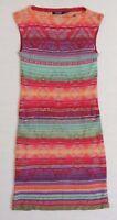 $220 Ralph Lauren Indian Blanket Tribal Linen Sleeveless Holiday Sweater Dress