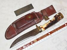 Vintage Hunting Type Knife W Sheath Marked Schrade USA 153UH