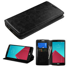 For Lg V10 Wallet Pouch Credit Card Holder Case W Stand Black