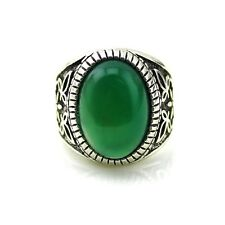 Men's Silver Plated Round Elegant Green Agate Jade Natural Stone Fashion Rings