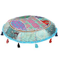 Indian Cotton Embroidered Floor Cushion Handmade Patchwork ottoman Pouf Cover