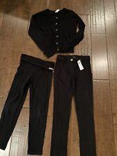 2 Pairs Black Girls Gap Kids Pants And Cherokee Cardigan Size 6-7