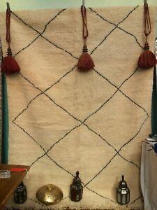 Vintage Moroccan Beni Ourain Berber Rug.100% Wool.305cm x 205cm.Ivory & Black.