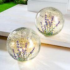 LED Glaskugel Lavendel Craquelé-Glas Tischdekoration Fensterdeko Kugel 15 cm