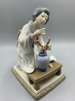 Lladro Porcelain Figurine #4840 Japanese Geisha Flower Arranger, Handmade Spain