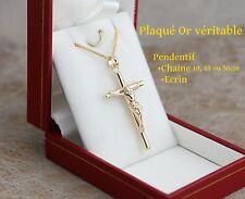 coffret boite pendentif Jesus croix catholique en vrai plaqué or avec chaine 50