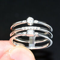 Fashion Women Wedding Jewerly 925 Silver Jewelry Ring White Sapphire Size 6-10