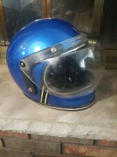 Vintage 70s Blue Snowmobile Racing Shield Helmet Racing Mens Size L/XL Full Face