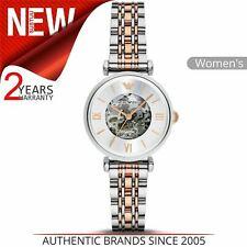 Emporio Armani Ladies Mechanical Autometic Watch AR1992¦Skeleton Dial¦Dual Tone