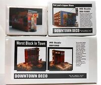 Downtown Deco HO Scale 3 Building kit Combo Worst Block, Cooters & Fat Lou's + 1