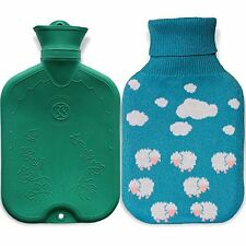 Hot Water Bottle Natural Medical Grade Rubber Bag With Knitted Cloud Cover 2L
