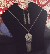 Blue And Silver Necklace And Earring Sets