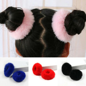 2Pcs Girls Hair Ring Furry Scrunchie Fluffy Faux Fur Rope Band Elastic Solid