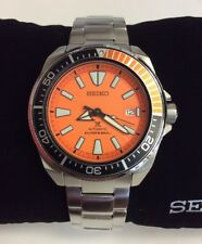 SEIKO PROSPEX Orange Samurai Waffle Stainless Steel Automatic Diver WATCH SRPC07