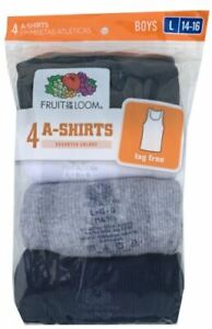 """Fruit of the Loom® Boys' A-Shirt (Pack of 4) """" Cotton & Tagless """" 4P514B"""