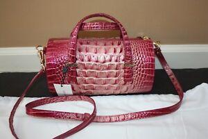 Brahmin Claire Barrel Satchel Lotus Leather Evening Cross-body Bag NWT