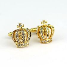 Gift Bag + Gold Colour Crown cuff links With Crystal King Queen Cufflinks