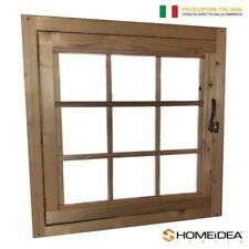 Finestra in legno apribile per casetta 81x81 cm con telaio maniglia e ferramenta