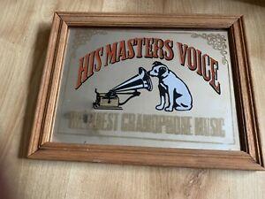 "Rare Vintage HMV (His Master's Voice) Gramophone Picture Mirror 11"" X 8 """