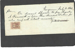R41c 20c FOREIGN EXCHANGE ON PROMISSORY NOTE VERGENNES,VT DATED JUL 6-1864