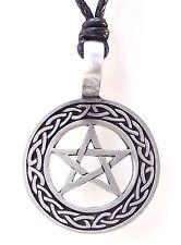 Pewter PENTAGRAM Pendant on Black Cord Necklace Nickel Free Pentacle Celtic Knot