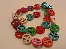Synthetic Turquoise Dyed Peace Sign Beads, Qty 10 Mixed Color 15x4mm