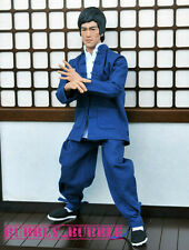 1/6 Bruce Lee Kung Fu Long Sleeves Costume Blue Suit Set For Hot Toys Figure USA