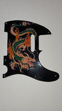"Leather pick guard Fender Telecaster hand tooled leather "" dragon's breath"""