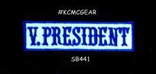V. PRESIDENT azul sobre blanco termoadhesivo Pequeño Parche para moto motorista