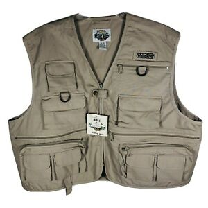 NWT White River Fly Shop Fly Fishing Vest 20 Pocket Zip Fish Lure XXL Tan New
