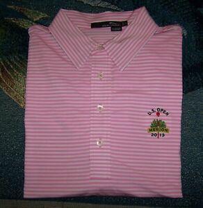 RALPH LAUREN RLX Polo Dress Shirt 2013 US OPEN MERION GOLF CLUB Sz XL Pink White