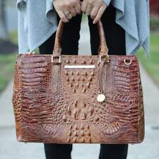 ❤BRAHMIN SM LINCOLN SATCHEL +WALLET TOASTED ALMOND CROC BUSINESS BRIEF ~ FINLEY❤