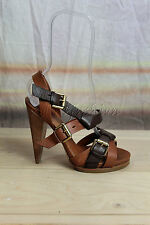 New in Box ETRO Brown Leather Gladiator Metal Buckles Sandals Heels Shoes 38 8