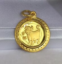 Zodiac 24K Solid Yellow Gold Animal Sign Round Ox -Cow Charm/ Pendant, 2.48Grams