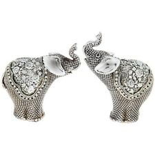 SET OF TWO Silver Fligree Elephant Mini 12cm Statue Ornament Figurine