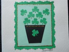 Handmade Blank Inside St. Patrick's Day with Green Paper Shamrocks