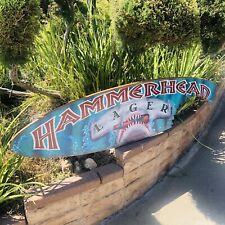 Hammerhead Lager Shark Wood Surfboard Brewing Beer Bar Pub Sign Mirror