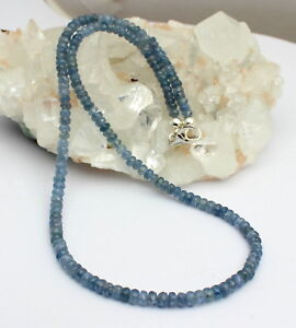 Sapphire Necklace Precious Stone Facetted Saphir - Blue Noble ca.100 KT 18 1/2in