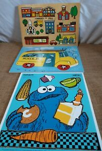 Vintage Lot of 3 Wood Puzzles; 1973 Cookie Monster 1971 community