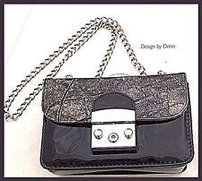 Black Patent-Metallic Silver-Textured-Italian Leather-Hand Made-Bag-Metropolis