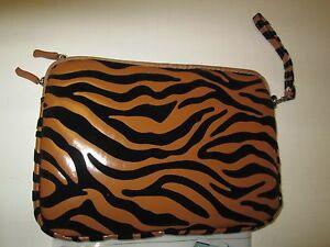 "Elite Universal Double Zip Fashion Skin Case, 8"", Blac/Brown Zebra NWT"
