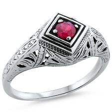 ANTIQUE ART DECO DESIGN GENUINE  RUBY .925 STERLING SILVER RING SIZE 10, #186