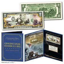 WWII - Raising the Flag on IWO JIMA Genuine $2 Bill in 8x10 Collectors Display