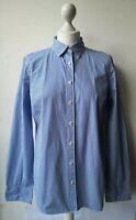 J. Crew Haberdashery Shirt M UK10/12 blue striped button long sleeve cotton